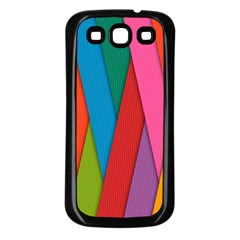 Colorful Lines Pattern Samsung Galaxy S3 Back Case (Black)