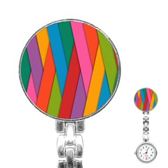 Colorful Lines Pattern Stainless Steel Nurses Watch