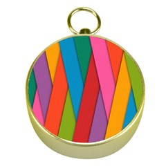 Colorful Lines Pattern Gold Compasses