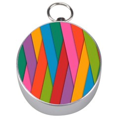 Colorful Lines Pattern Silver Compasses
