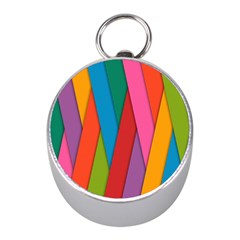 Colorful Lines Pattern Mini Silver Compasses