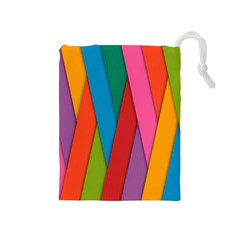 Colorful Lines Pattern Drawstring Pouches (Medium)