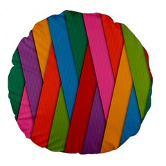 Colorful Lines Pattern Large 18  Premium Flano Round Cushions