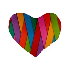 Colorful Lines Pattern Standard 16  Premium Flano Heart Shape Cushions