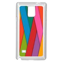 Colorful Lines Pattern Samsung Galaxy Note 4 Case (White)
