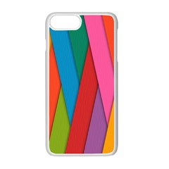 Colorful Lines Pattern Apple iPhone 7 Plus White Seamless Case