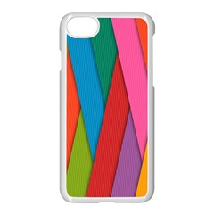 Colorful Lines Pattern Apple iPhone 7 Seamless Case (White)