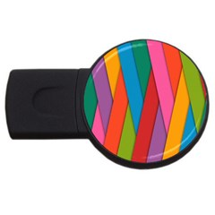 Colorful Lines Pattern Usb Flash Drive Round (2 Gb) by Simbadda