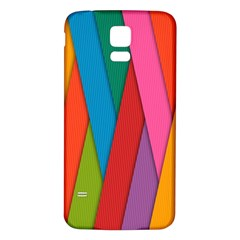 Colorful Lines Pattern Samsung Galaxy S5 Back Case (white) by Simbadda