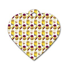 Hamburger And Fries Dog Tag Heart (one Side) by Simbadda