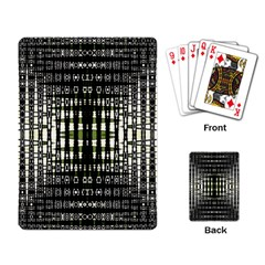 Interwoven Grid Pattern In Green Playing Card by Simbadda