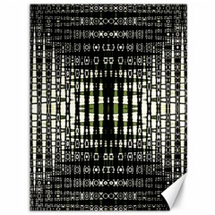 Interwoven Grid Pattern In Green Canvas 36  X 48   by Simbadda