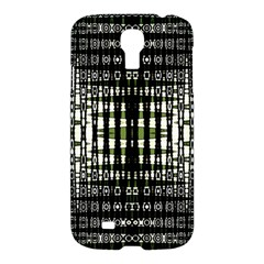 Interwoven Grid Pattern In Green Samsung Galaxy S4 I9500/i9505 Hardshell Case by Simbadda