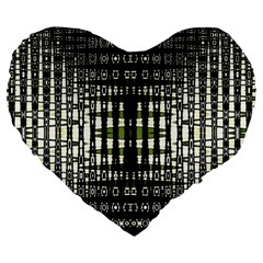 Interwoven Grid Pattern In Green Large 19  Premium Flano Heart Shape Cushions by Simbadda