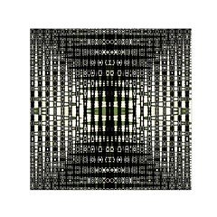 Interwoven Grid Pattern In Green Small Satin Scarf (square) by Simbadda