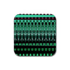 Green Triangle Patterns Rubber Coaster (square)
