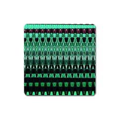 Green Triangle Patterns Square Magnet
