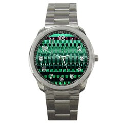 Green Triangle Patterns Sport Metal Watch by Simbadda