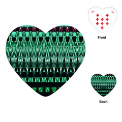 Green Triangle Patterns Playing Cards (heart)  by Simbadda