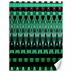 Green Triangle Patterns Canvas 12  X 16   by Simbadda