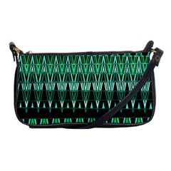 Green Triangle Patterns Shoulder Clutch Bags by Simbadda