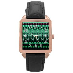 Green Triangle Patterns Rose Gold Leather Watch  by Simbadda