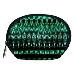 Green Triangle Patterns Accessory Pouches (medium)  by Simbadda