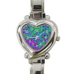 Green Purple Pink Background Heart Italian Charm Watch by Simbadda