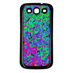 Green Purple Pink Background Samsung Galaxy S3 Back Case (black) by Simbadda