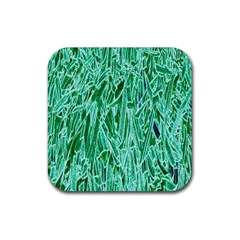 Green Background Pattern Rubber Coaster (square)