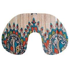 Blue Brown Cloth Design Travel Neck Pillows