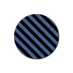 Stripes3 Black Marble & Blue Denim (r) Rubber Coaster (round) by trendistuff