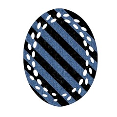 Stripes3 Black Marble & Blue Denim (r) Oval Filigree Ornament (two Sides) by trendistuff
