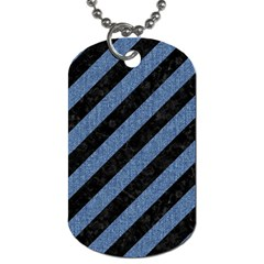 Stripes3 Black Marble & Blue Denim Dog Tag (two Sides)