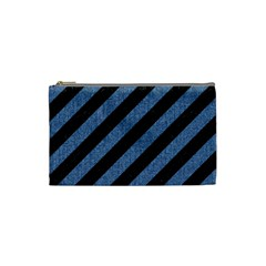 Stripes3 Black Marble & Blue Denim Cosmetic Bag (small) by trendistuff