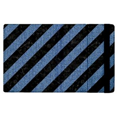 Stripes3 Black Marble & Blue Denim Apple Ipad 2 Flip Case by trendistuff