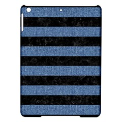 Stripes2 Black Marble & Blue Denim Apple Ipad Air Hardshell Case by trendistuff