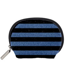 Stripes2 Black Marble & Blue Denim Accessory Pouch (small) by trendistuff