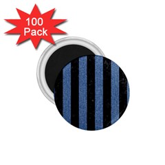 Stripes1 Black Marble & Blue Denim 1 75  Magnet (100 Pack)  by trendistuff