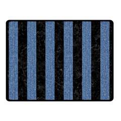 Stripes1 Black Marble & Blue Denim Double Sided Fleece Blanket (small) by trendistuff