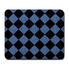 Square2 Black Marble & Blue Denim Large Mousepad by trendistuff