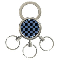 Square1 Black Marble & Blue Denim 3 Ring Key Chain by trendistuff