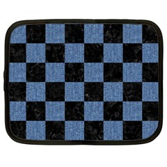 Square1 Black Marble & Blue Denim Netbook Case (xxl) by trendistuff