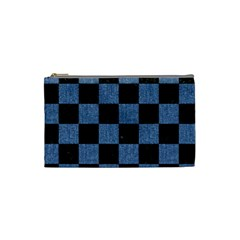 Square1 Black Marble & Blue Denim Cosmetic Bag (small) by trendistuff