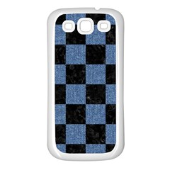 Square1 Black Marble & Blue Denim Samsung Galaxy S3 Back Case (white) by trendistuff