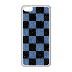 Square1 Black Marble & Blue Denim Apple Iphone 5c Seamless Case (white) by trendistuff