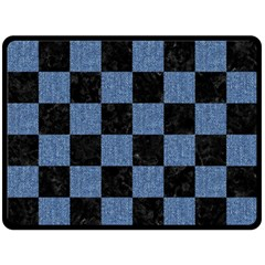 Square1 Black Marble & Blue Denim Double Sided Fleece Blanket (large) by trendistuff
