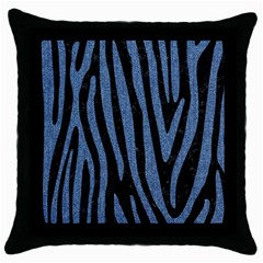 Skin4 Black Marble & Blue Denim (r) Throw Pillow Case (black) by trendistuff