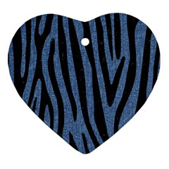 Skin4 Black Marble & Blue Denim Heart Ornament (two Sides) by trendistuff