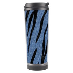 Skin3 Black Marble & Blue Denim (r) Travel Tumbler by trendistuff